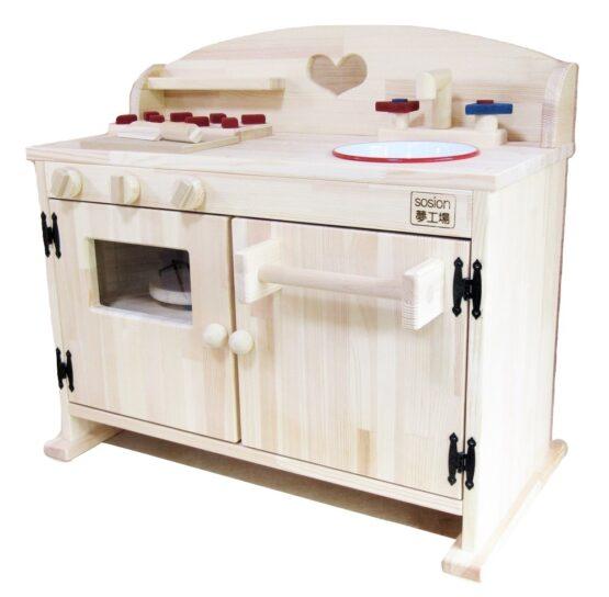 手作り 木製ままごとフルキッチン DHXーH レンジ、タオル掛け付き、シンクはホーロです。