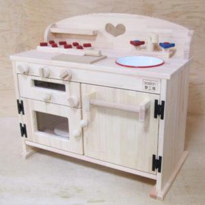 手作り 木製ままごとフルキッチン GHK-H  ホーローシンク・魚焼きグリル付き さらにタオル掛け付き!(完成品です!)